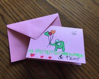Greeting card pink Valentine, elephant