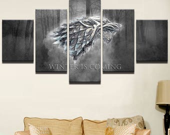 5 Panels Game of Thrones House Symbol Stark Winter is Coming Dire Wolf Robb Arya Sansa Ned Canvas Art Multi Grouped Art Work asoiaf GOT