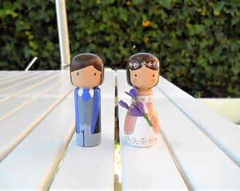 Peg dolls personalised bride and groom (2 units)