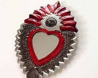 Tin Heart Plaque with mirror Handmade Mexican Tin Wall Ornament Mexican Folk Art Recycled Art Hammered Aged Look