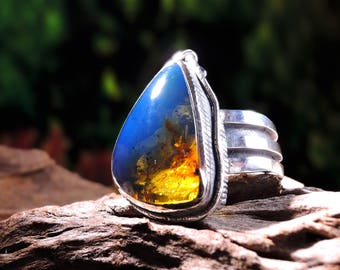 Silver ring forging art from Berlin with blue amber - Lutz Podolski