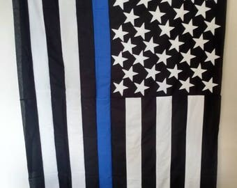 Thin blue line, red line or military quilt or throw.