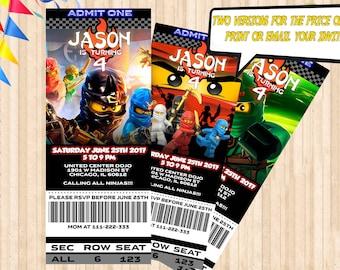 Lego Ninjago Birthday Invitation (DIGITAL), Lego Movie Party Invitation, Lego Invite Cards, Digital File Printable or Printed Invitation