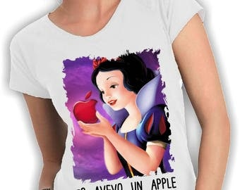 Bianancaneve-neck woman t shirt I had an apple before steve jobs