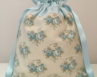 Knitting bag / knitting bags / crochet bag /  project bag - blue floral tilda