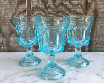 3 Aqua Blue Fostoria Cordial/Champagne Glasses // Fostoria Blue Wine Glasses // 1970's