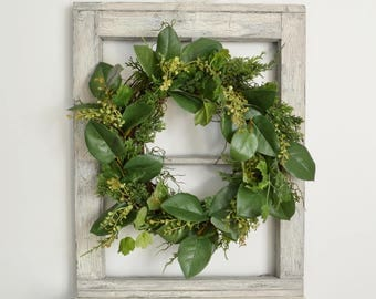 Boxwood and Lemon Leaf Wreath, Faux Greenery Wreath, Wreath to Hang Over a Mirror or Frame, Spring Boxwood Wreath, Natural Wreath