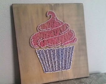 Vintage string art nail and string art boat string art cupcake nail and string art string art decor thread art fiber art prinsesfo Image collections