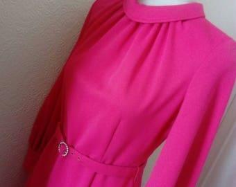 Stunning shocking schiapparelli pink MAXI Party Dress 1960's