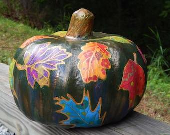 Decoupage Pumpkin. Paper Mache Pumpkin. Painted Pumpkin. Hand-Painted Pumpkin. Decoupage Napkins.