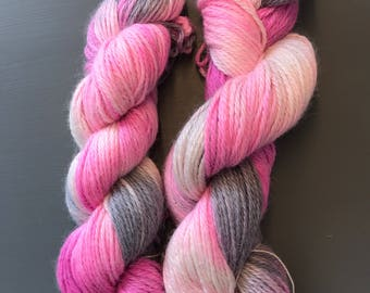 "100g Superfine Alpaca / Silk Aran Yarn, hand dyed in Scotland, pink and grey variegated ""blommis"""