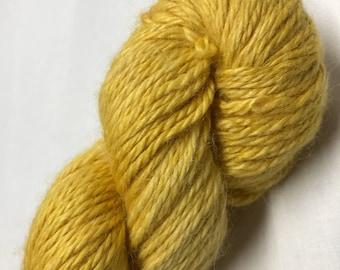 100g Superfine Alpaca / Silk Aran Yarn, hand dyed in Scotland, mustard yellow seni solid, so soft and squishy!