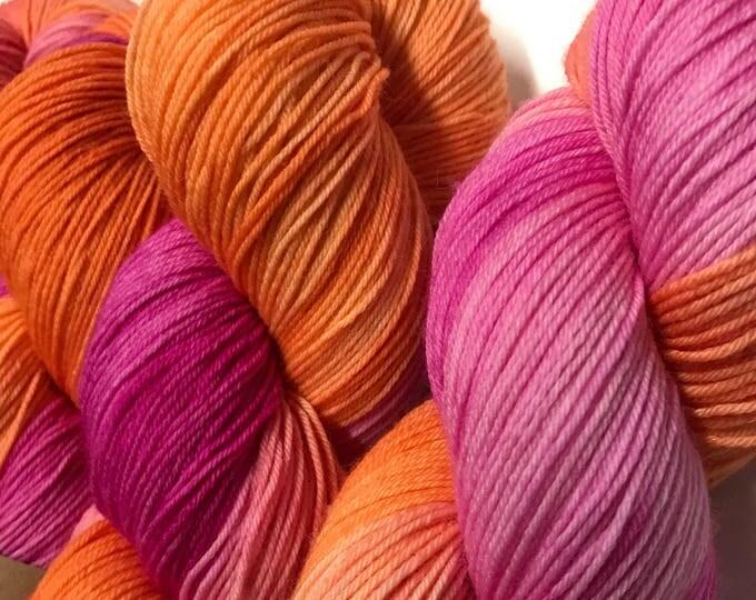100g Superwash Merino / Nylon Sock Yarn 4 ply, fingering, hand dyed in Scotland, orange, pink, variegated