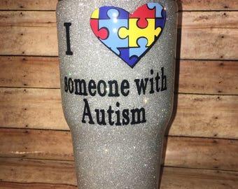 Autism Glitter Yeti/Glitter Yeti/Autism/Autism Awareness/Glitter Ozark/Glitter RTIC/Glitter Mug/Coffee Mug/Glitted coffee mug