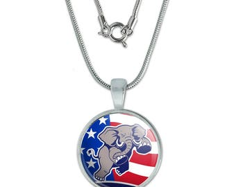 """Angry Republican Elephant Politics GOP American Flag 0.75"""" Pendant with Sterling Silver Plated Chain"""