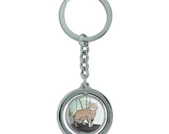 Bobcat lynx cat spinning round chrome plated metal keychain key chain ring