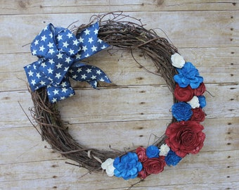 Sola Wood Flower Wreath Patriotic