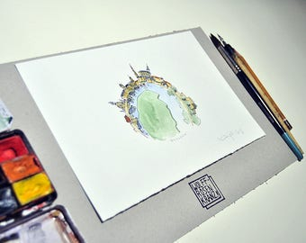 Dresden on top, a very special city view of Dresden, original, feather drawing, watercolour, Canalettoblick,