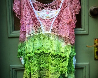 Upcycled Vintage Lace Linens Doilies Embroidery Overdyed Pullover Dress Top