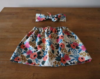 Girls Skirt - Toddler Skirt - Rifle Paper Co Skirt - Skirt and Headband - Fall Outfit - Birthday Outfit - Floral Skirt - Mom and Me Outfit