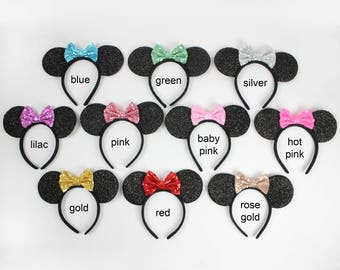 Minnie Mouse Ears Headband with Glitter Bow    Minnie Ears   Minnie Birthday   Disney Ears   Disney Girl Gift   Disneyland   Choose Color