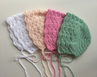 MADE TO ORDER - Crochet Shell Bonnet Acrylic Yarn