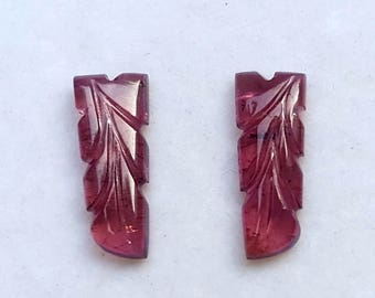 7.3Ct 2Pc Pair Tourmaline Leaf Carving Jewelry Setting Natural Pink Tourmaline Hand Carving Gemstone Loose Pink Tourmaline carving Gemstone