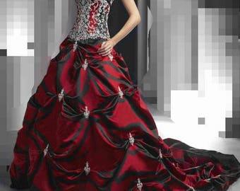 Red vampira  gothic wedding dress