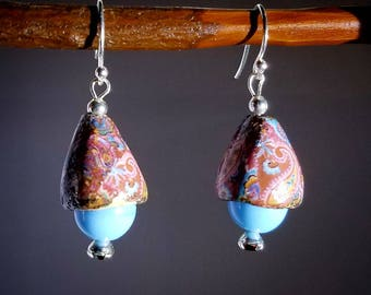 Romantic Afternoon - Handmade Artisan Earrings Ceramic And Czech Glass and Sterling Silver with Swarovski Rhinestone surprise 1 of a kind