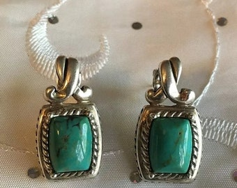 ON SALE Vintage .925 Sterling Silver Green Square Cut Turquoise Cabochon Earrings
