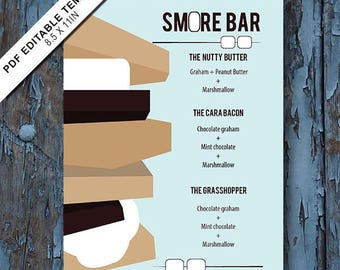 Smore, Smore menu,S mores menu, Smores bar, smores bar ideas,smores dessert bars, Smore party,smores ideas,recipe for s mores,camp, template