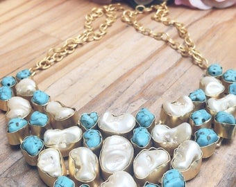 Pearl and tourquoise studded necklace