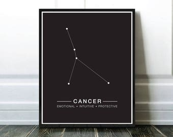 Cancer Constellation Print, Astrology Print, Horoscope Printable, Astrologie Cancer, Affiche Constellation Cancer, Cancer Digital Download