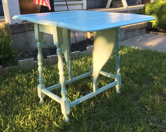 Duck Egg Blue Drop Leaf Maple End Table