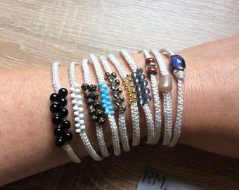 Makramee Armband natur ecru in 10 Variationen, Macrame Bracelet natural ecru in 10 variations