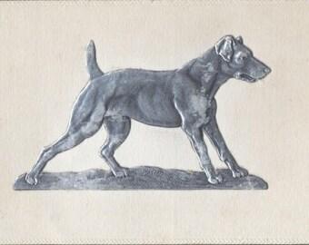 Mint EMBOSSED Silver Portrait WEIMARANER Dog, Raised Image, Unused SPECIALTY Postcard c. 1910s
