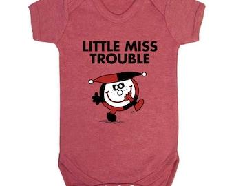 Little Miss/DC Mashup - Harley Quinn/Little Miss Trouble Baby Short Sleeve Bodysuit