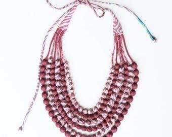 Exclusive, one-of-kind, 6 String Statement Sari Necklace - Wine/Cream