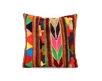 Ethnic Kilim Pillowcase - Wool Decor Vintage Tribal Handwoven Organic Modern Decorative Kilim Pillow Cover Pillowcase Boho Pillow