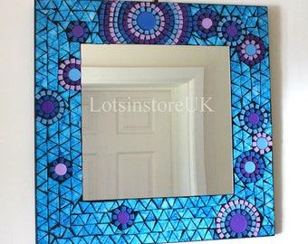 Square mosaic mirror blue glass design bathroom hall Mirror 38x38cm
