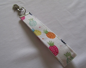 Alternative quirky pineapple colourful wristlet key fob