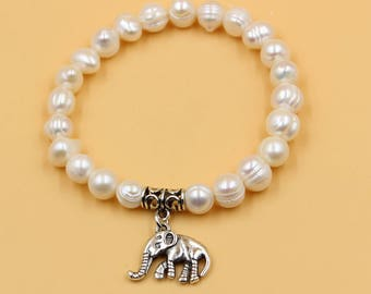Silver pearl bracelet, white pearl bracelet, silver elephant bracelet, freshwater pearl jewelry, gift for her, mother daughter bracelet