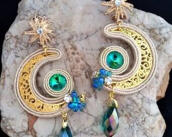 soutache earrings moon, soutache, soutache jewelry, handmade earrings, soutache jewels, long earrings, soutache embroidery