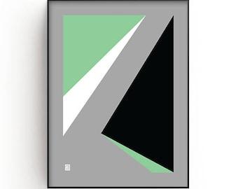 Minimalist Wall Art Print, green, black, white, Modern art, Contemporary art, geometric art, Printable art