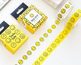 Smile Face/Emoji Japanese Washi Tape Deco Tape - 15mm X 10metres