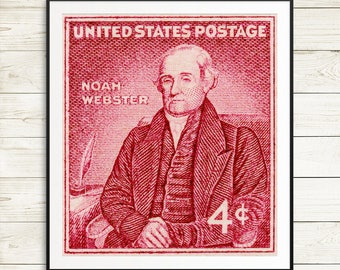 Library decor, library posters, book posters, writers gifts, English majors, gifts for writers, Noah Webster portrait, Webster's Dictionary