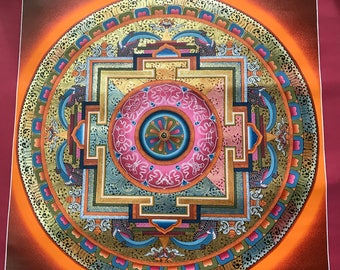 Beautiful Lotus Round Mandala with High Quality Thangka Handpainted in Nepal