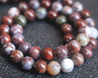 Red Lightning Agate Beads 8mm Smooth and Round Beads,15 inches one strand