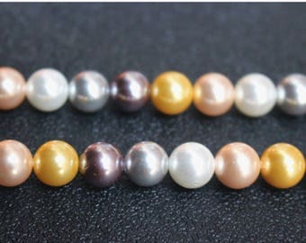 Multi Color South Sea Shell Pearls,10mm Round Shell Beads, mixed color shell beads,15 inches one strand
