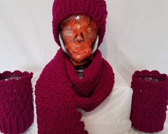 Maroon Hat, Scarf, and Reversible Boot Cuffs Set.